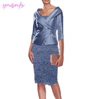 YNQNFS M195M Real Dress Party Wedding Guest Wear Knee Length Gray Blue 2 Piece Mother of the Bride Lace Dresses with Jacket 2019