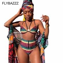 Africa Fashion Swimwear Sexy Print Halter Bikini Set High Waist Summer Bandeau Swimsuit Bathing Suit bikinis 2019 mujer 2Pcs