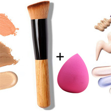 Brocha para polvos y corrector, juego de brochas para base de maquillaje, Maquillaje facial, mango de madera, profesional, 2019