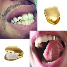 цена на Hip Hop Gold Teeth Grillz Top & Bottom Grills Dental Mouth Punk Teeth Caps Cosplay Party Tooth Rapper Jewelry Gift