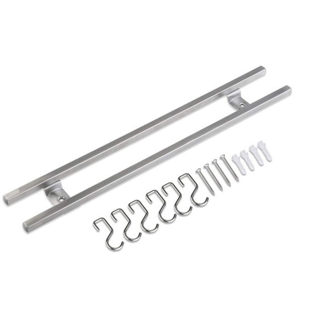 Wall-mounted Magnetic Knife Strip Stainless Steel Double Bar Knife Storage Rack With Hook For Knives Utensils (40cm)