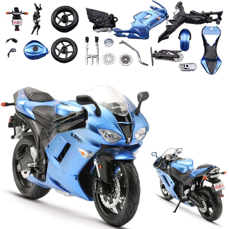 Maisto 1:12 alloy motorcycle model toy diy motorbike assembly racing car models building kits ninja zx-6r collection toys for children