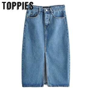 Straight Skirt Cowboy-Style Vintage Blue High-Waist Women Streetwear Fashion Denim Front-Split-Bottoms