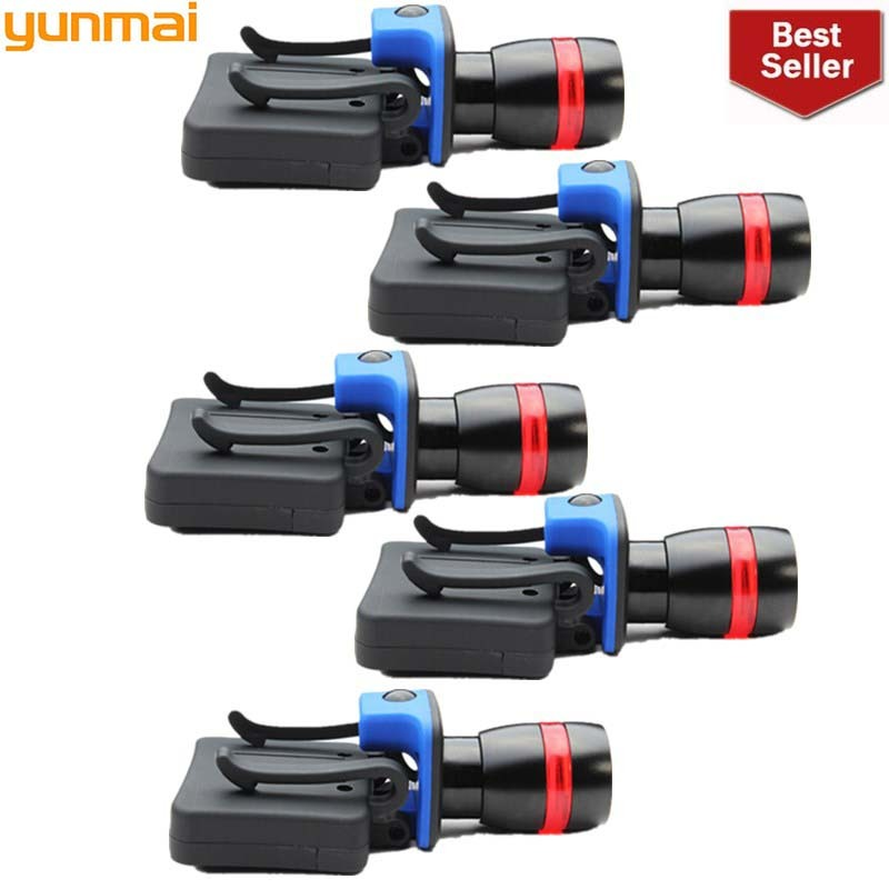 2019 New 5pcs 5 LED Sensor Head Cap Hat Lamp Light Headlamp Torch Black Hiking Flashlight Cycling Flash Lights Outdoor Riding