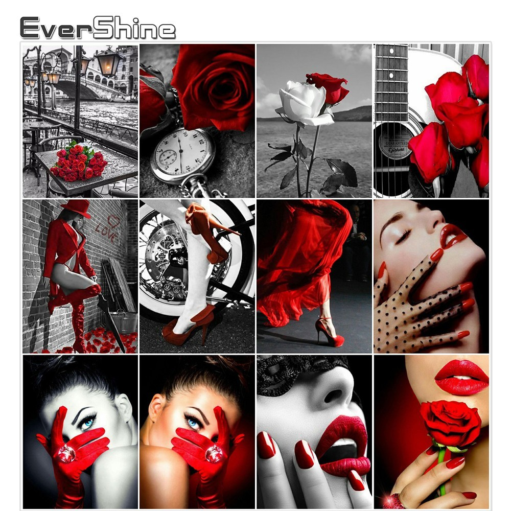 Evershine 5D Diamond Painting Red Series Rose Portrait Diamond Embroidery Full Square Drill Handmade Wall Decor Diamond Mosaic