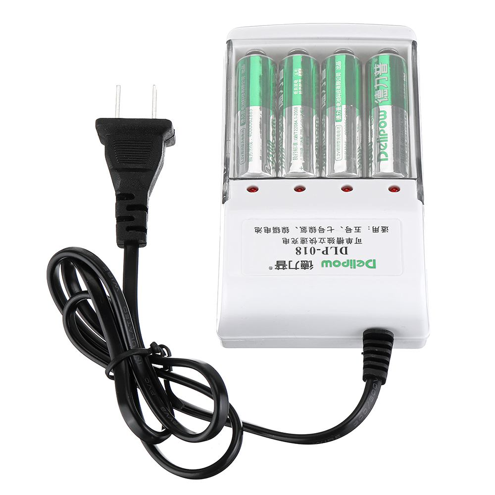 LEORY Delipow 4 Slots AC 220V <font><b>Battery</b></font> Charger with 4Pcs <font><b>Rechargeable</b></font> <font><b>1.2V</b></font> <font><b>AA</b></font> Lipo <font><b>Battery</b></font> image