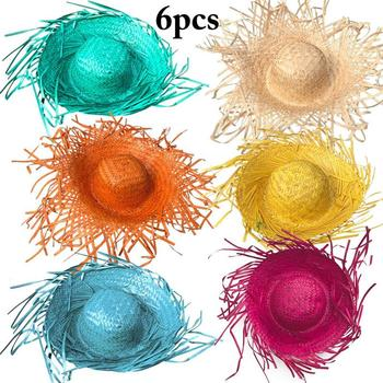 6PCS Summer Carnival Party Hat Farmhouse Style Assorted Colors Straw Hat Chicken Nest Sunflower Hat Activity Decoration Supplies