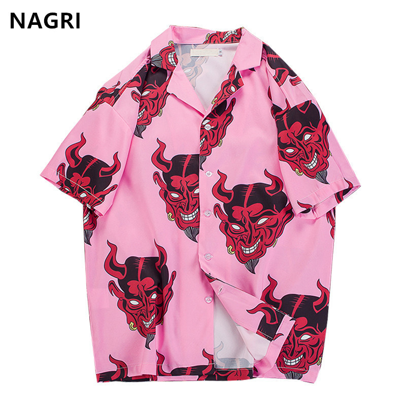 Hip Hop Streetwear Shirts Men Devil Full Printing Short Sleeve Summer Floral Rapper Harajuku Loose Hawaiian Korean Shirts Camisa(China)