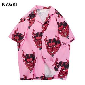 Image 1 - היפ הופ streetwear חולצות גברים שטן מלא הדפסה קצר שרוול קיץ פרחוני ראפר harajuku loose הוואי קוריאני חולצות camisa