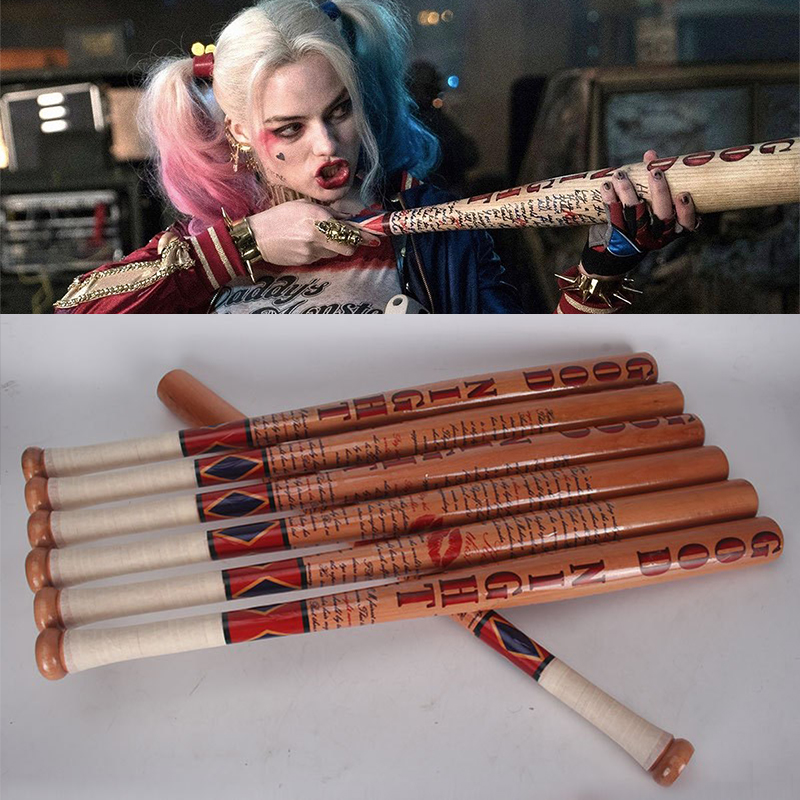 Batman Arkham Asylum City <font><b>Suicide</b></font> Squad Harley Quinn Weapon Costume Cosplay original edition solid wood Quinn baseball bat image