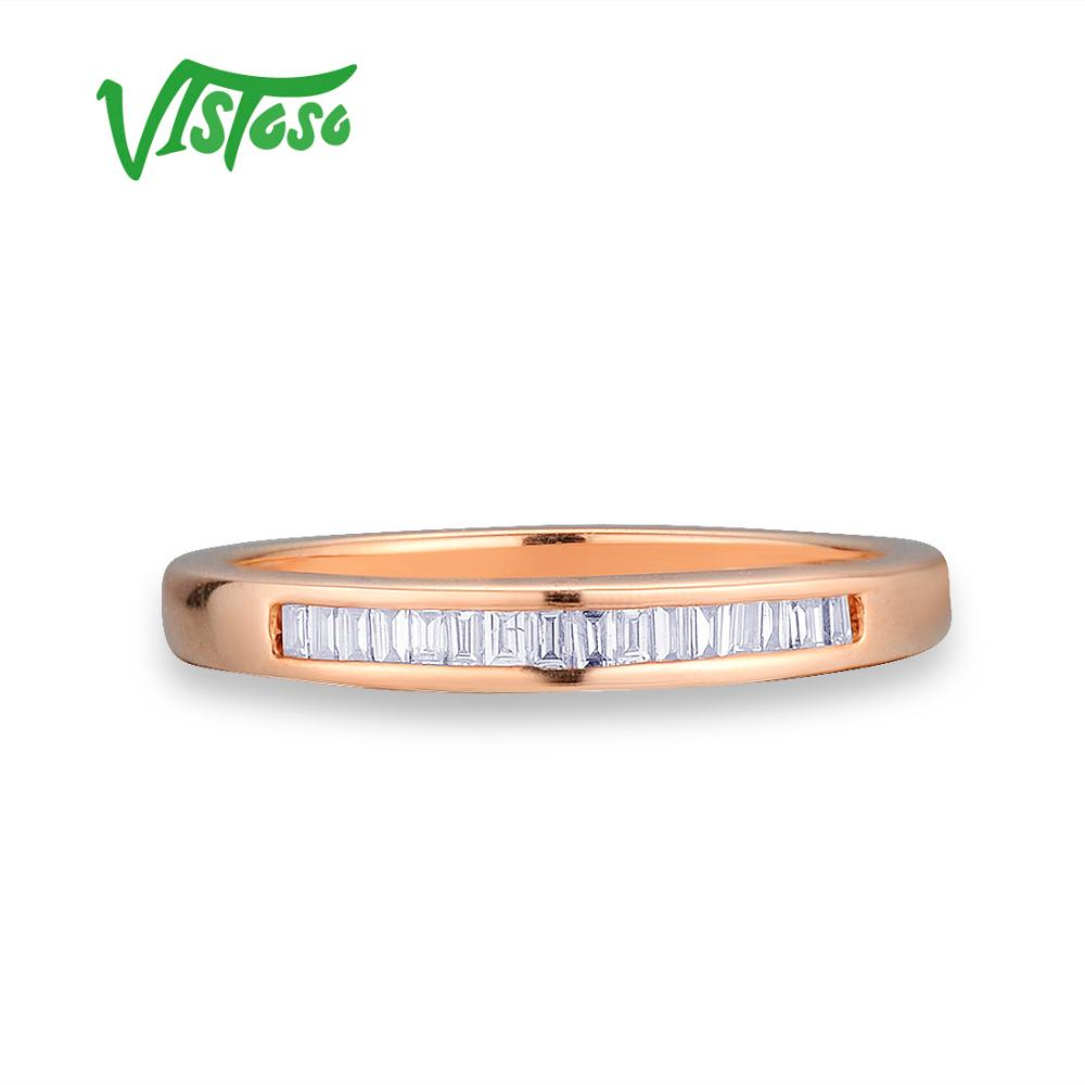VISTOSO Gold Rings For Women Genuine 14K 585 Rose Gold Ring Sparkling Diamond Glamorous Engagement Round Rings Fine Jewelry