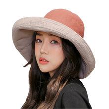 Chapéus de moda Verão Para As Mulheres Dobrável Chapéu de Praia Grande Aba  do chapéu de Sol Mulheres Chapéu Chapéus de Algodão P.. 353aafa89d7