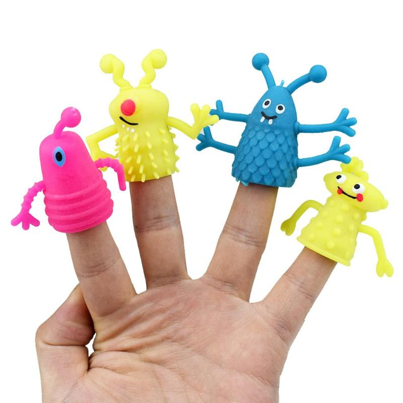 4Pcs/Set Novelty TPR Plastic Cute Expression Hand Puppets Children Kids Finger Puppets Toy Parents Storytelling Props