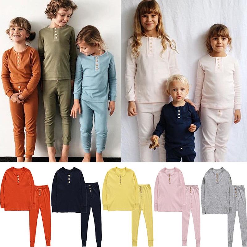 2Pcs kids   pajama     Sets   children sleepwear Baby   pajamas     sets   boys girls Solid Soft pyjamas pijamas cotton nightwear Sleepwear Robe