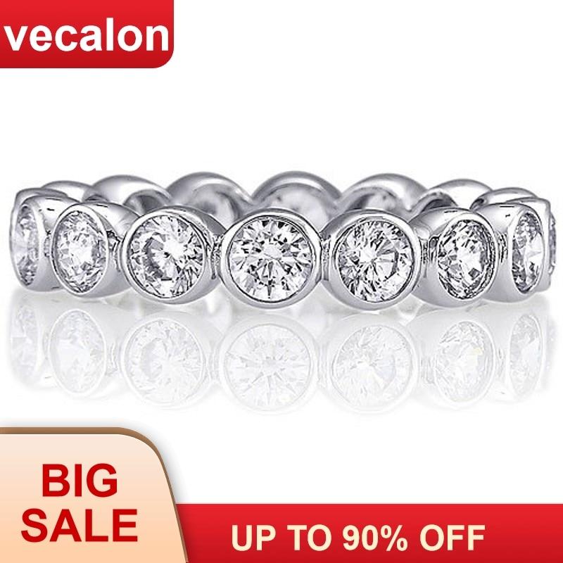 Vecalon moda mujer boda bandas anillo 925 Plata de Ley 3mm 5A circón Sona Cz anillos de compromiso para mujeres dedo joyería