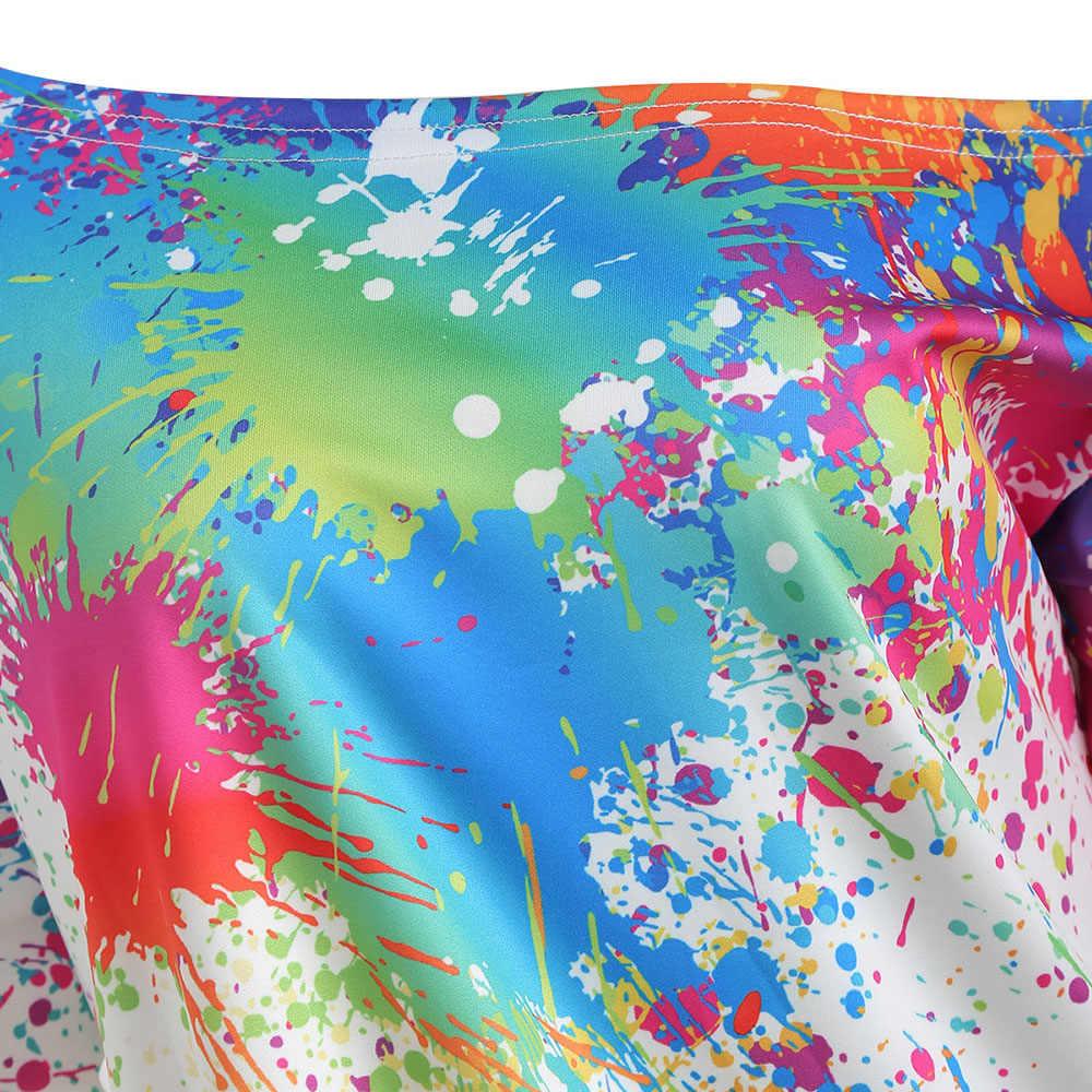 70f0e84cb37 ... Женская осенне-Весенняя Повседневная Толстовка с длинным рукавом с  принтом брызг краски