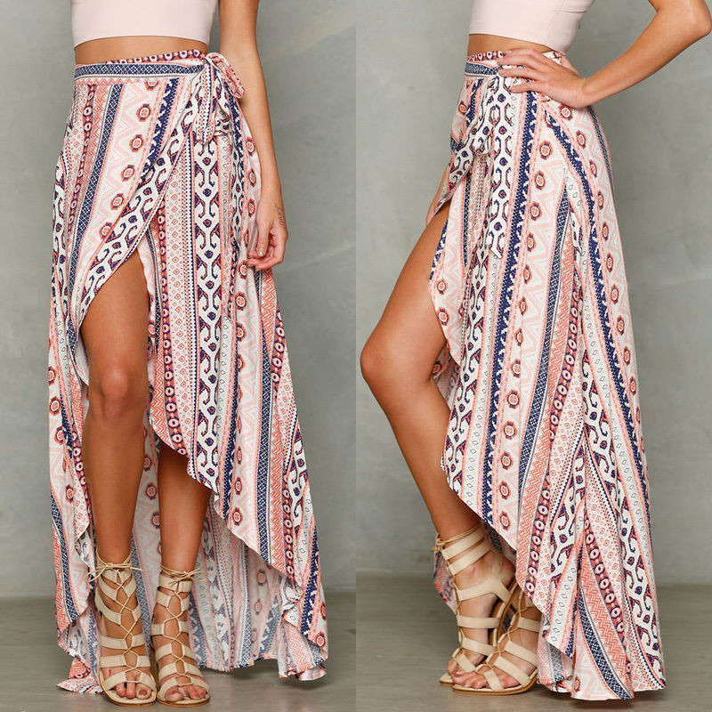 Fashion Casual Loose Print Women Boho Long Chiffon Skirt Beach Cover Up Split Skirt Asymmetrical Summer Clothes
