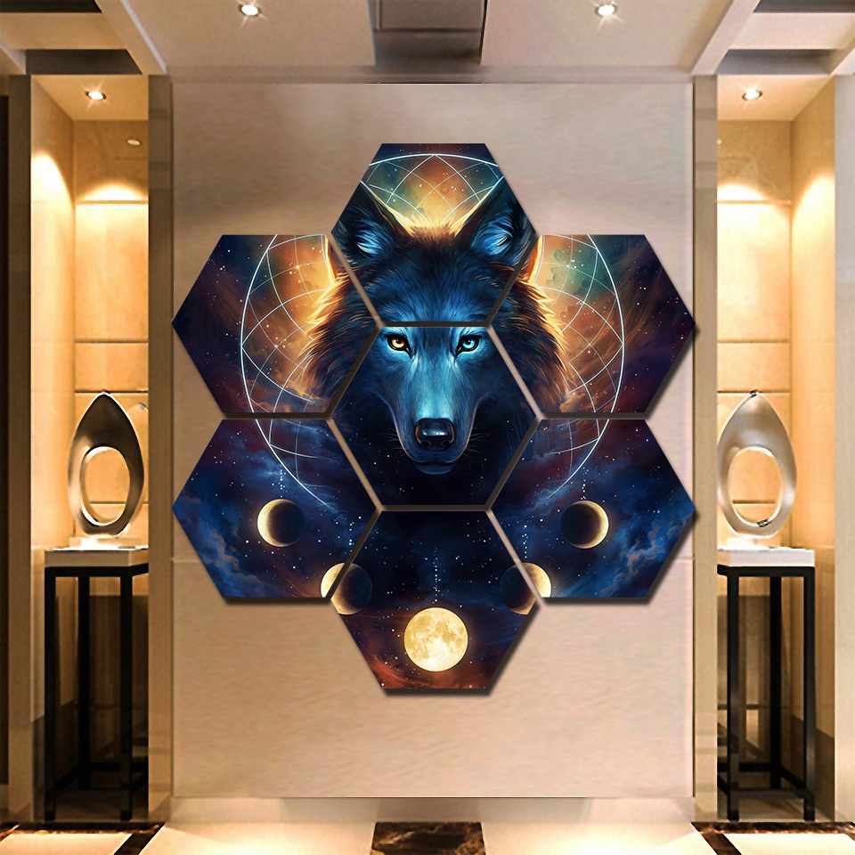 Canvas Paintings Living Room Printed 7 Pieces Wolf Werewolf Poster Wall Art Moon Dream Catcher Pictures Home Decor Modular Frame картины на стену волк