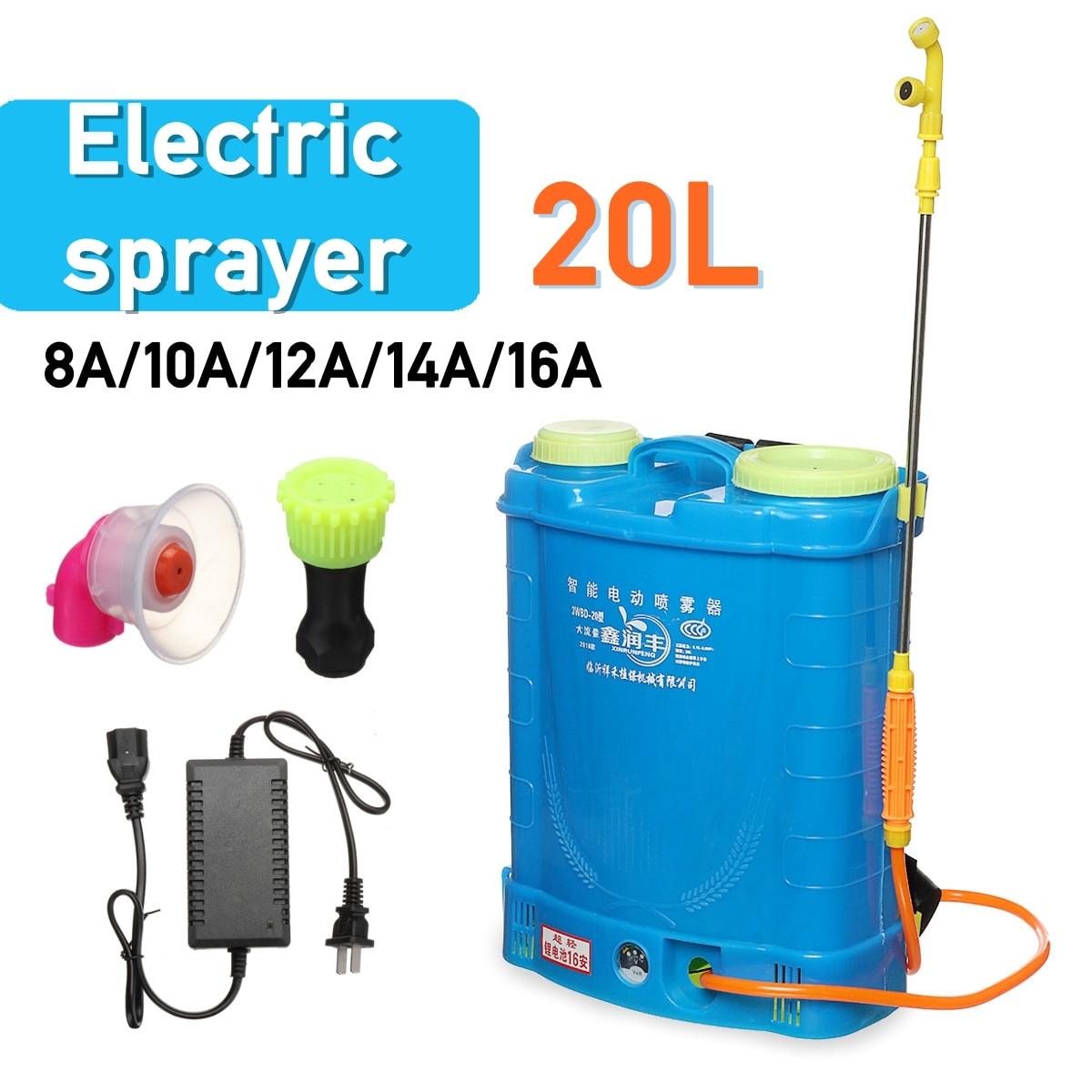 20L 8/10/12/14/16A Batteria Al Litio Elettrico spruzzatore Agricolo di Pesticidi distributore di carica Ad Alta pressione attrezzature da giardino