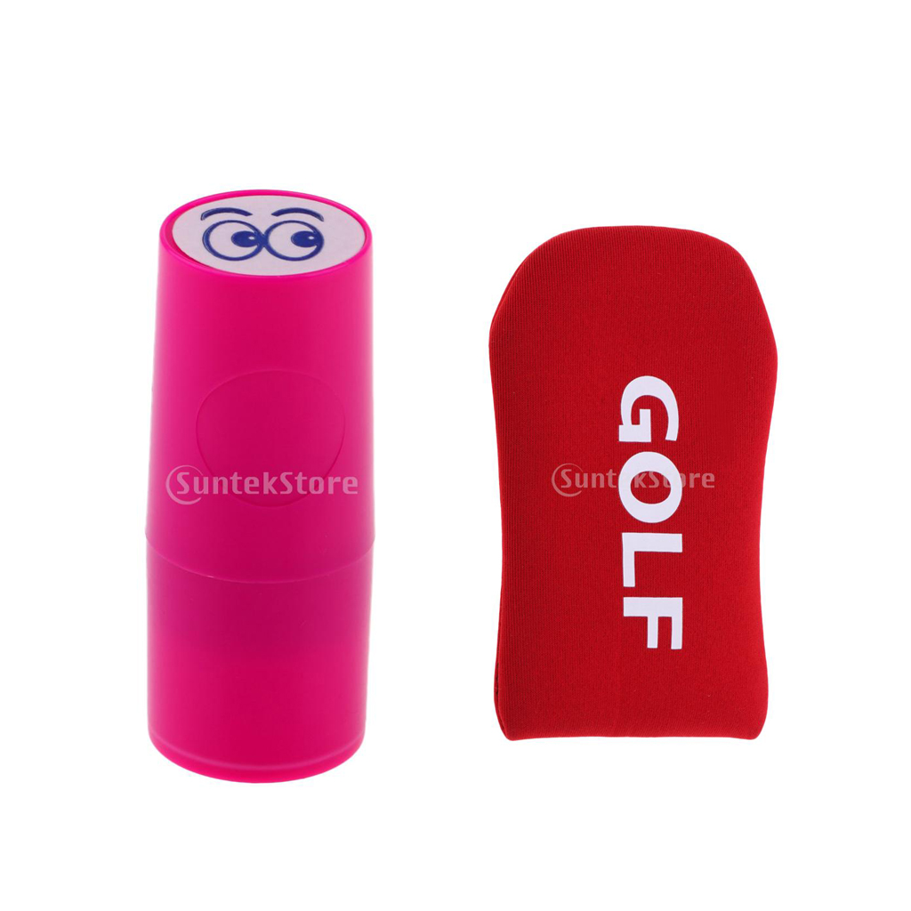 1x мяч для гольфа штамп Stamper Marker Eyes+ 1x колотушка для гольфа головной убор Putter Cover
