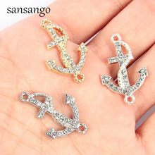10pcs New Gold Silver Crystal Anchor Connector Jewelry Making Accessories For Unisex DIY Necklace Charms Bracelet Gift Wholesale(China)