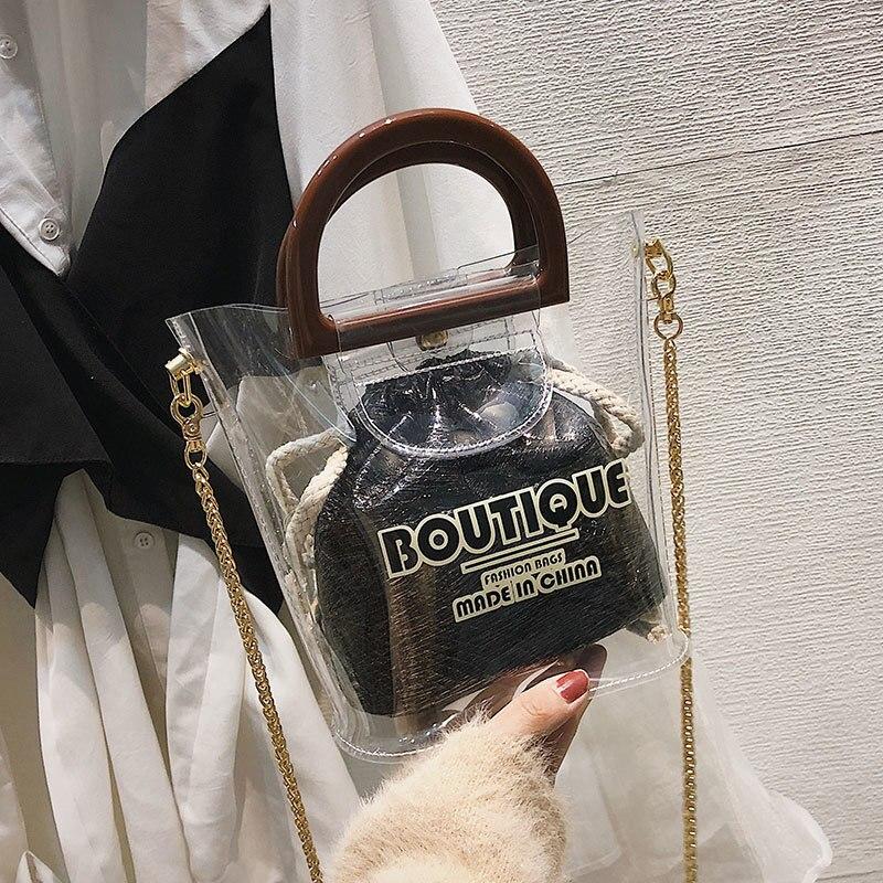 Bolsos Pvc Black Borsa silver Donna Spalla Singolo Trasparente wine Protable In Secchiello Tracolla Signore Con golden Tote A Mujer Red Borse 5wqCa7q
