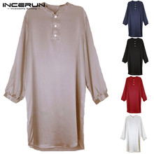 INCERUN Men Silk Satin Robe Pajamas Long Sleeve Solid Bathrobe Men Homewear Sleepwear Soft Casual Men  Suit Plus Size 2020