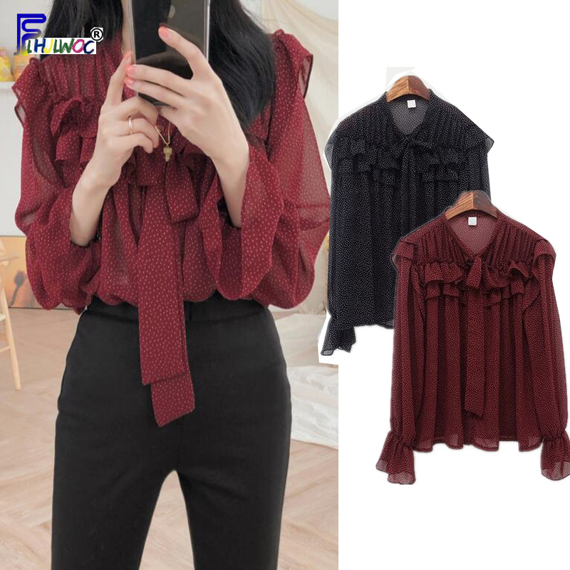 Bow Tie Tops Women Korean Style Flare Sleeve Design Vintage Tops Sweet Red Black Chiffon Polka Dot Ruffled   Blouse     Shirt