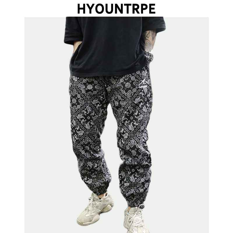 Hip Hop Loose Fit Elastic Waist Pants Fashion Printed Ankle Pants Mens 2019 New Spring Summer Casual Sportwear Pants Joggers
