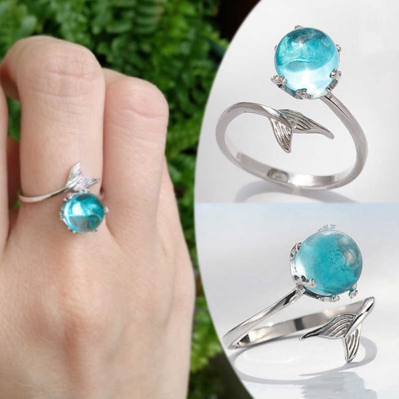 1PC Wedding Mermaid Bubble Open Ring Allergy Free Graceful Hot Sale Adjustable High Quality Silver Blue Crystal 2018 New Arrival