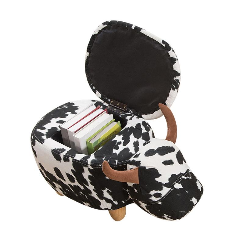 Cattle Shaped Stool Wooden Bench Lovely Cartoon Domestic Dirty Resistant Stool Animal Shaped Storage Stool Children Stool