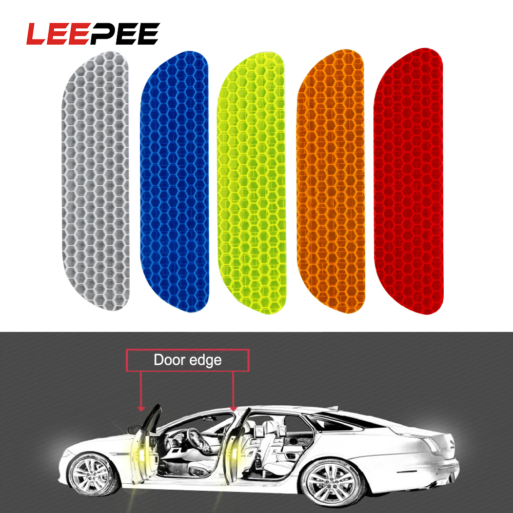 LEEPEE 4 Pieces/set Car Reflective Stickers Reflective Strips Safety Mark Warning Tape Car Door Wheel Eyebrow Sticker Decal