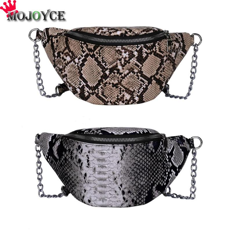 New Waist Bag Fashion Luxury Brand Snake Grain Fanny Pack Print Serpentine Women Fashion Python Leather Female