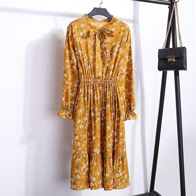 Retro Women Floral Printed Midi Dress New 2019 Autumn Vintage  Elegant Dress Long Sleeve Party Chiffon Dresses vestidos mujer