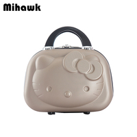 Mihawk Cute Cosmetic Bags Portable Travel Suitcase Cartoon Kitty Women Handbag Lovely Makeup Toiletries Case Beauty Pouch Supply