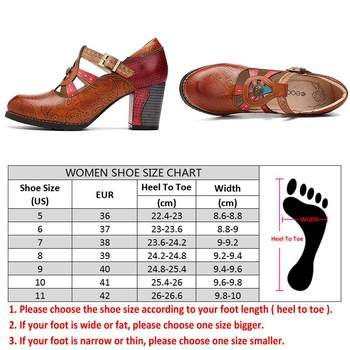 SOCOFY Elegance Vintage Hollow Out Chunky Heel Leather Pumps Stitching Weave Hook Loop Retro Shoes Women  Bohemian Pumps New 2