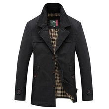 Men's Spring Autumn Business Casual Long Cotton Trench Coat Jacket Men Winter Brand Classic Iconic Trench Breasted Overcoat Men