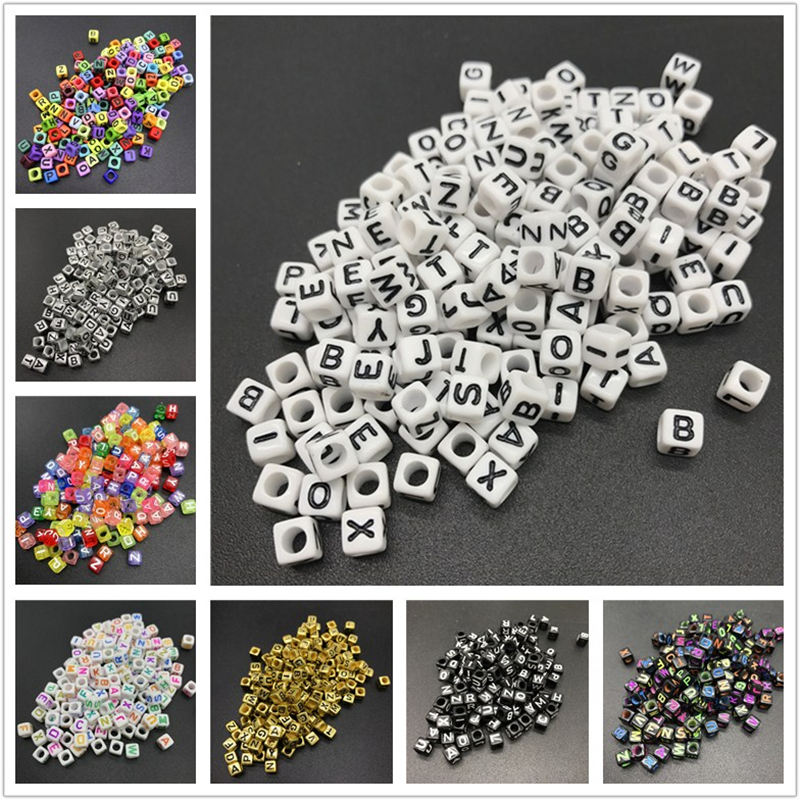 100pcs 6mm Mix Letter Beads Square Alphabet Beads Acrylic Beads DIY Jewelry Making For Bracelet Necklace Accessories(China)