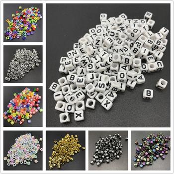 100 sztuk 6mm Mix koraliki z literami kwadratowe koraliki alfabet akrylowe koraliki DIY tworzenia biżuterii dla bransoletka akcesoria naszyjnikowe tanie i dobre opinie LXBENING NONE Kwadratowy kształt about 16g Moda Letter Beads 100 pcs 6x6mm 26 Random Mix