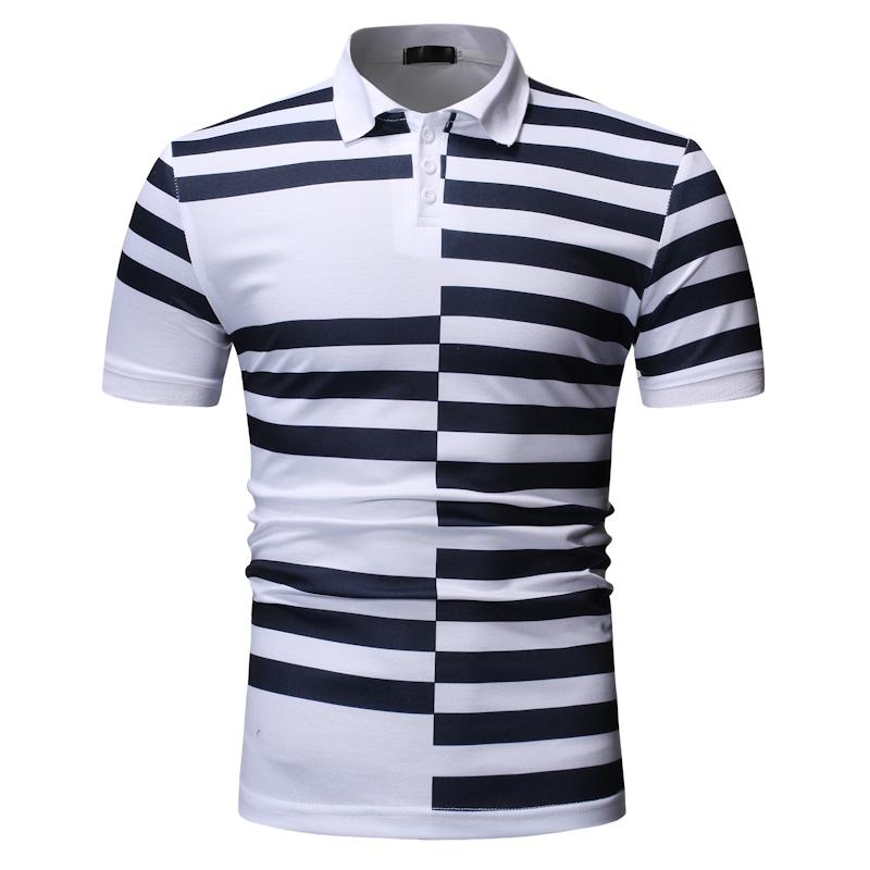 Stripe splicing   Polo   Shirt Men Lapels Summer Tops Men's Clothing Business Casual Tees Men   Polo   Shirt Short sleeve