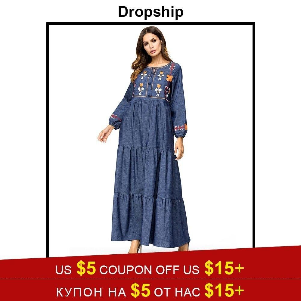Прямая поставка платье для женщин платья для макси длинные плюс размеры Винтаж Vestidos Verano 2019 роковой вышивка деним кисточкой мусульманское