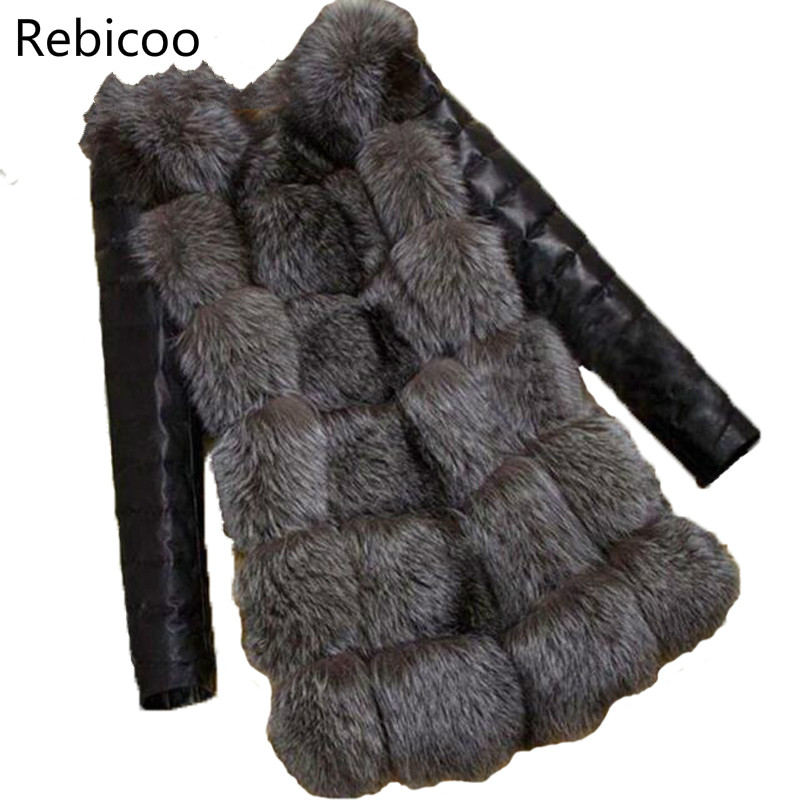 Rebicoo New Grass Faux Fur Coat Women Jackets Imitation Fur Fashion Waistcoat Long Sleeve Fur Female Coat