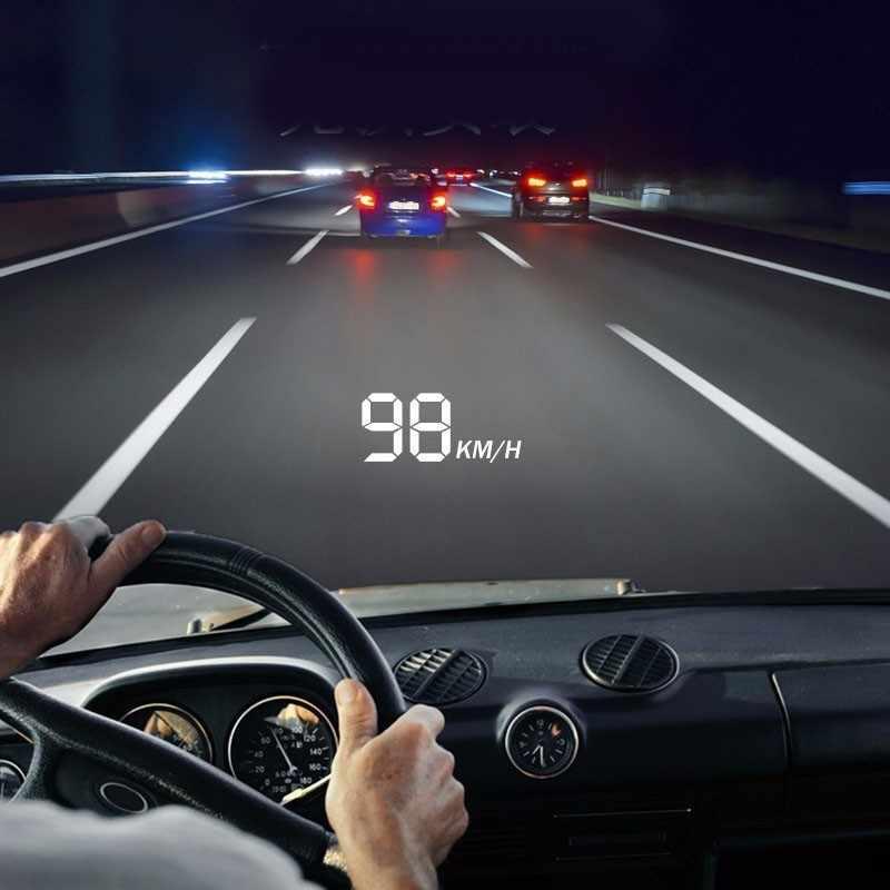 רכב מהירות מקרן שמשה קדמית ראש למעלה תצוגה A100 רכב גאדג 'טים רכב obd2 HUD לעלות צג OBD 2 נהיגה מחשב
