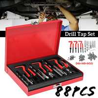 88Pcs M6+M8+M10 HSS Drill Tap Set Auto Engine Block Restoring Damaged Thread Repair Tool Hand Tool Kit Set