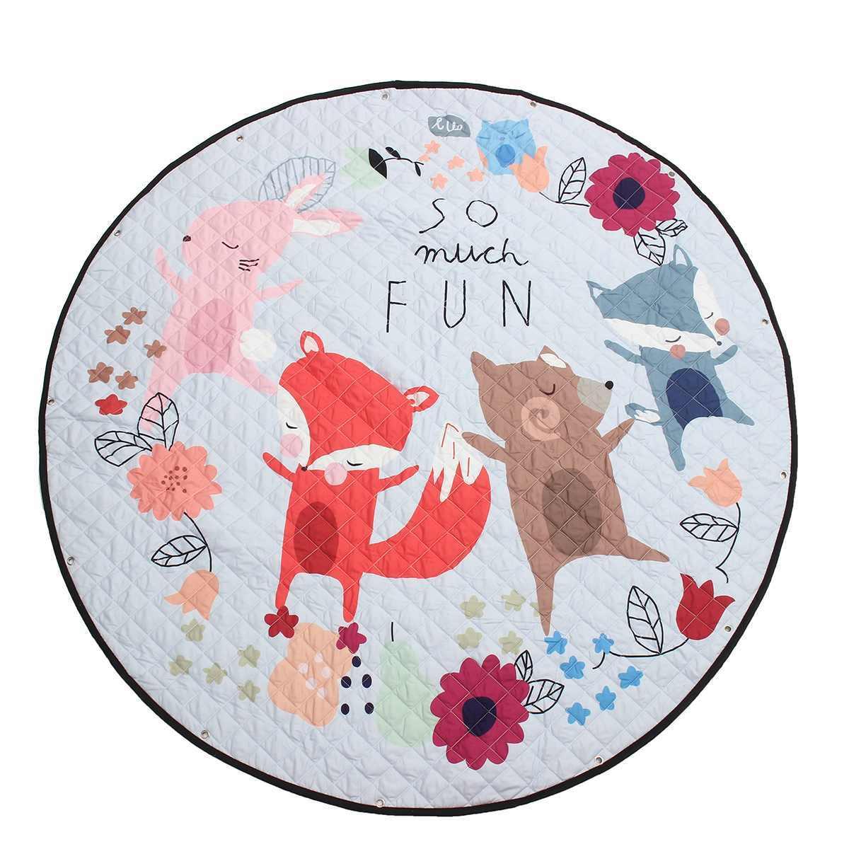 Мультфильм лиса хлопок детские коврик для тренажерного зала Ползания одеяло портативный Круглый ковры игрушечные лошадки Playmat сумка для хранения 150 см