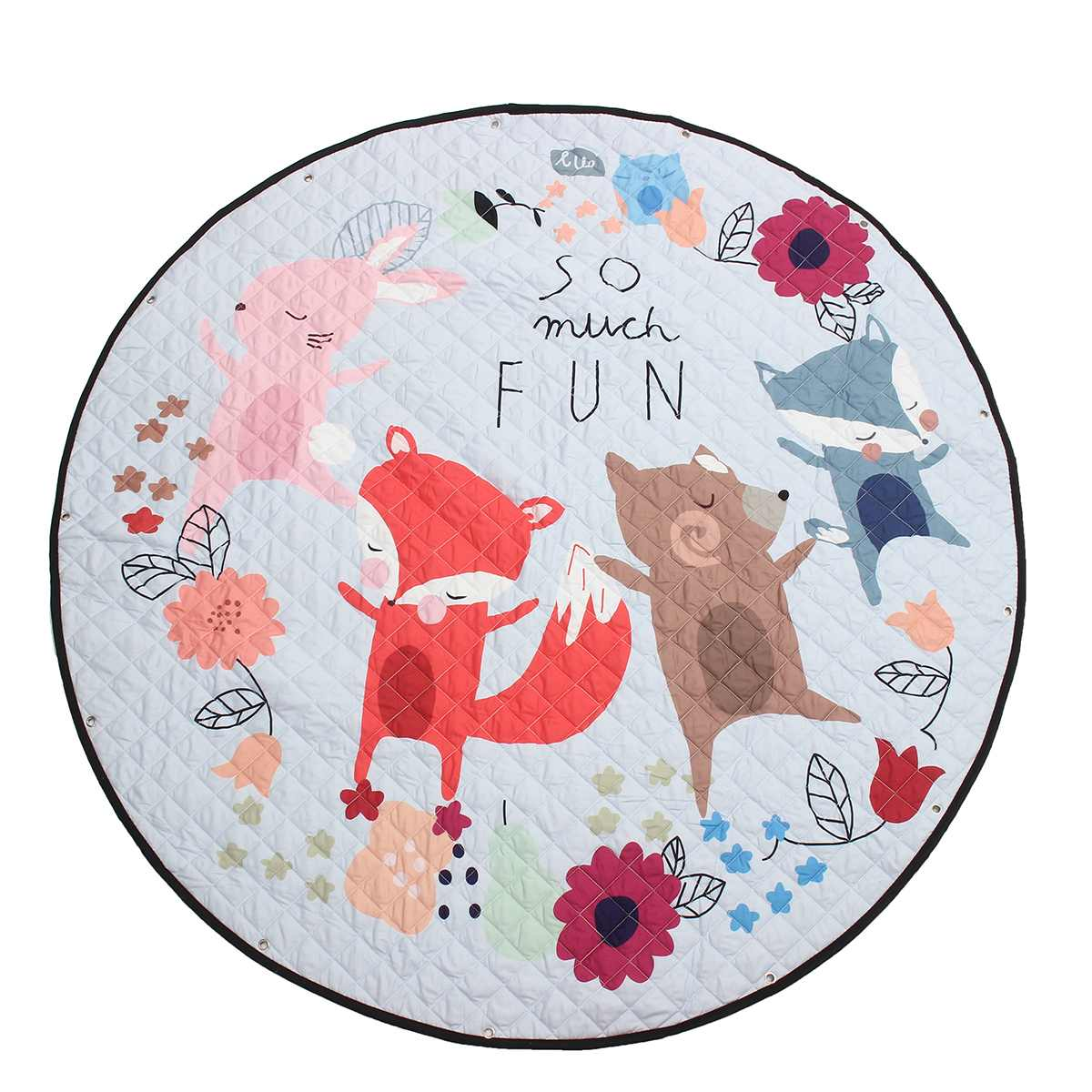 Cartoon Fox Cotton Baby Kids Gym Play Mat Crawling Blanket Portable Round Carpet Children Toys Playmat Storage Bag 150cm Baby Gyms & Playmats Mother & Kids