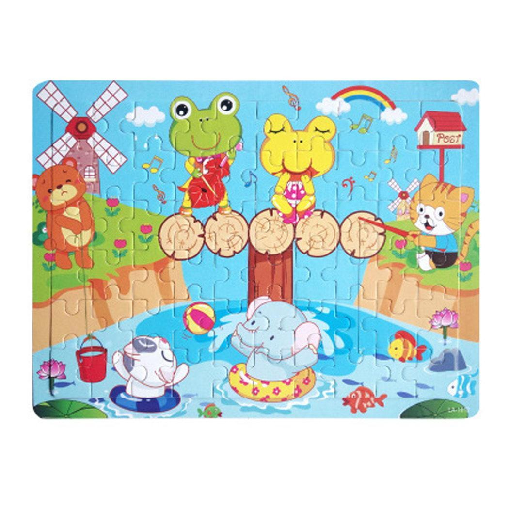 Children Early Education Puzzle Wooden Creative > 3 Years Old Cartoon Flat Multicolor Puzzle Toy