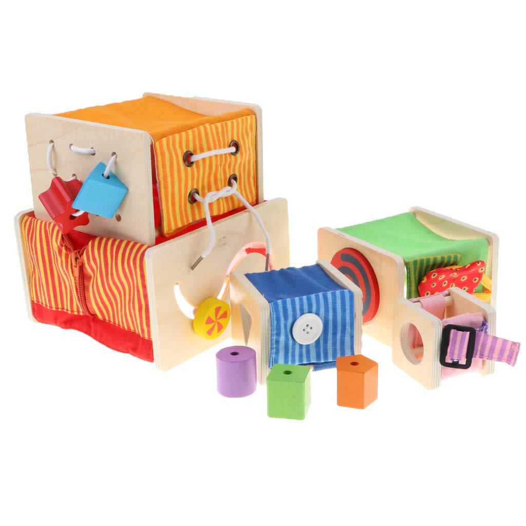 Montessori jouets en bois 5 Cubes empilables Coordination oeil-main jeu éducatif sensoriel cadeau d'anniversaire pour bébé enfants