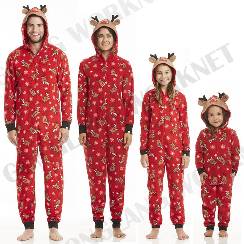 XMAS PJs Family Matching Adult Women Kids Christmas Nightwear Pyjamas Pajamas Cute Sleepwear Deer Nightwear Zip Hooded Jumpsuit