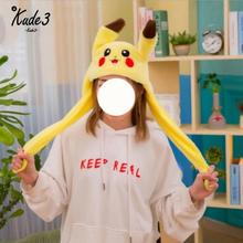 1pc 60cm Funny For Pikachu And Rabbit Hat With Ears Moving Plush Toy Stuffed Soft Creative Doll Cute Birthday Gift 8446